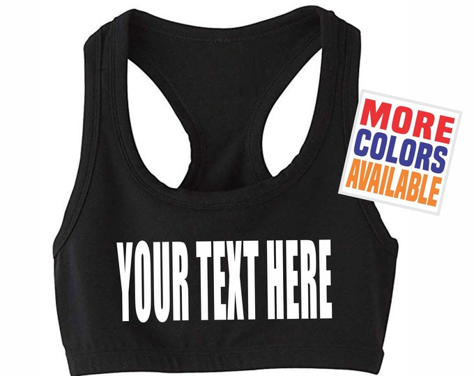 YOUR TEXT HERE Sports Bra Crop Boob Tube Strap Sexy Gym Workout Yoga Top Hot Fit Wife Gift Party Customized Custom Print Personalized Words