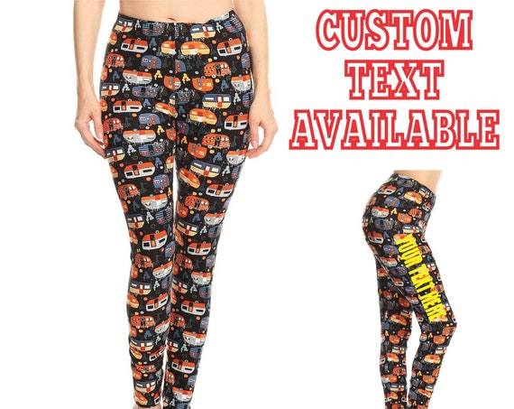 CUSTOM CAMPER LEGGINGS Pants Tights Yoga Side Leg Your Text Here Personalized Customized Printed Funny Booty Butt Camping Vintage Glamping