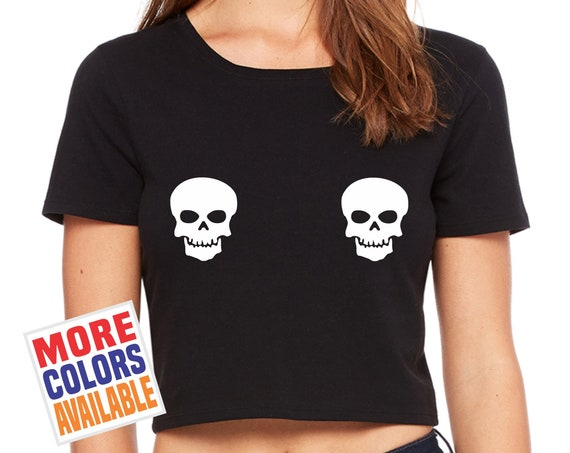 SKELETON FACES Crop T Shirt Tee Womens Tee Top Sexy Funny Skull Head Across On Boobs Tits Chest Halloween Costume Party Goth Punk Concert