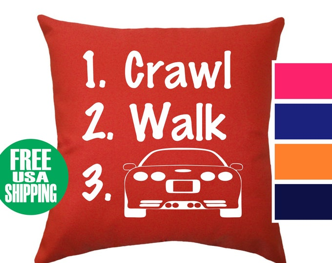 CRAWL WALK CORVETTE Pillow Cover Throw Bed Couch Sofa Infant Nursery Room Baby Shower Gift Birthday Chevy Chevrolet C5 Vette Car Boy Infant