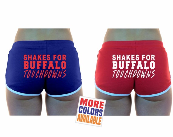 SHAKES For BUFFALO Touchdowns Booty Shorts Boy Blue White Red Cheerleader Sexy Hot Funny Booty Butt Ass Wife Girlfriend Football
