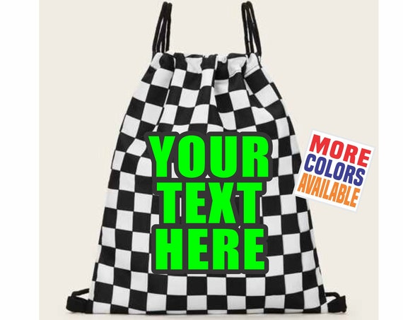 YOUR TEXT HERE Checkered Backpack String Tote Book Bag Purse Gym Gear Travel Flag Racing Motorsports Personalized Custom Name Printing Auto