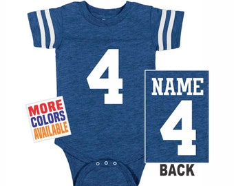 82a7b4edf FOOTBALL JERSEY Bodysuit Baby Royal Blue w  White Shirt Stripe Sleeves 1  Piece Tee Boy Girl Custom Personalized Last Name Number Shower Gift