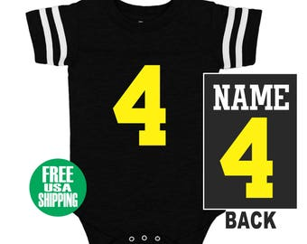 747c112d5 FOOTBALL JERSEY Bodysuit Baby Black w  White Shirt Stripe Sleeves One Piece Jersey  Boy Girl Custom Personalized Last Name Shower Gift Sports
