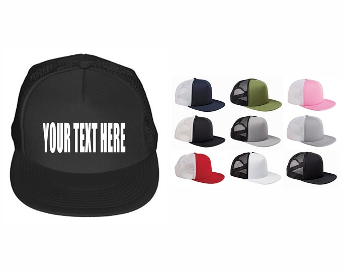 CUSTOM TRUCKER HATS Foam Front Mesh Your Text Here Personalized Customized Font Words Black Pink White Red Olive Camo Grey Silver Party