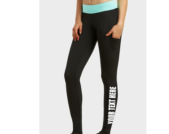 CUSTOM LEGGINGS Black w/ Mint Band Active Pants Pockets Workout Yoga Gym Lower Side Leg Your Text Here Personalized Customized Printed Sexy