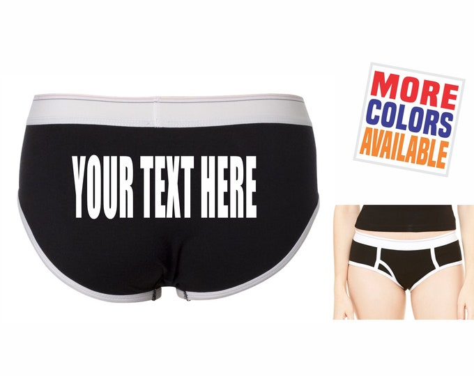 YOUR TEXT HERE Boyfriend Brief Underwear Panties Men's Boy Shorts Undies Sexy Ass Black & White Custom Personalized Customized Name Hashtag
