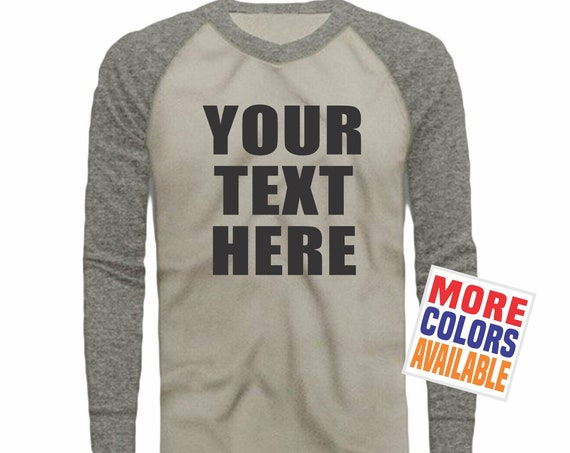 YOUR TEXT HERE Raglan Long Sleeve T Shirt Men's Guys Tee Custom Printing Logo Design Work Contractor Team Bulk Gray Heather Silver Baseball