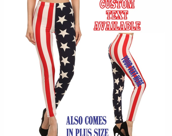 CUSTOM USA LEGGINGS Pants Tights Yoga Side Leg Your Text Personalized Funny Booty Butt America 'Merica Memorial Day 4th Of July Plus Size