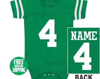 a0329a93b FOOTBALL JERSEY Bodysuit Baby Vintage Green w  White Shirt Stripe Sleeve  One Piece Jersey Boy Girl Custom Personalized Last Name Shower Gift