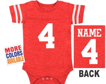 77462a01c FOOTBALL JERSEY Bodysuit Baby Vintage Red w  White Shirt Stripe Sleeve  Jersey Boy Girl Custom Personalized Last Name Shower Gift High School