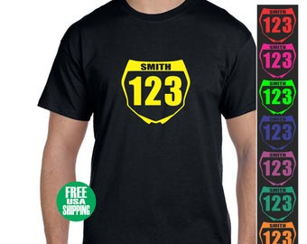 FRONT NUMBER PLATE T Shirt Tee Motocross Supercross Dirt Bike Motorcycle Vintage Mx Sx Fmx Flat Track Custom Name Jersey Tee Dad Mom Gift