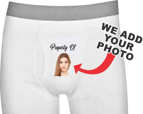 PROPERTY OF Boxer Brief White Underwear Face Recognition Photo Picture Birthday Wife Wedding Funny Husband Gift Anniversary Custom Sexy Pic