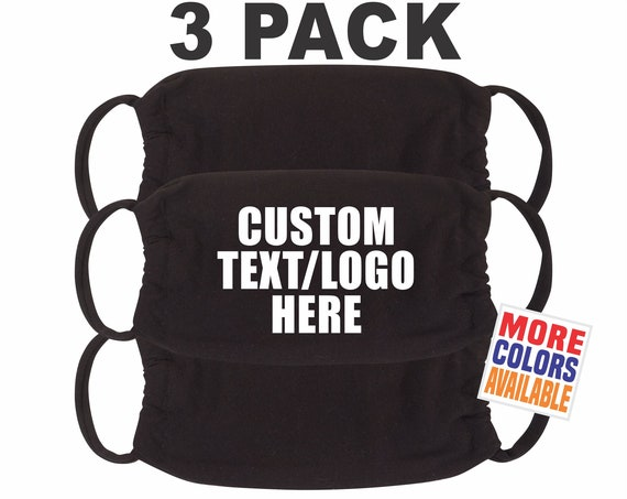 3x YOUR TEXT HERE Black Face Mask Cotton Fabric Mouth Nose Cover Soft Adult Unisex Custom Printed Personalized Team Company Logo Name 3 Pack
