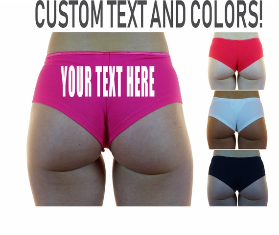 YOUR TEXT HERE Boyshorts Underwear Panties Boy Shorts Undies Sexy Hot Ass Black Red White Custom Personalized Customized Name Hashtag Slogan