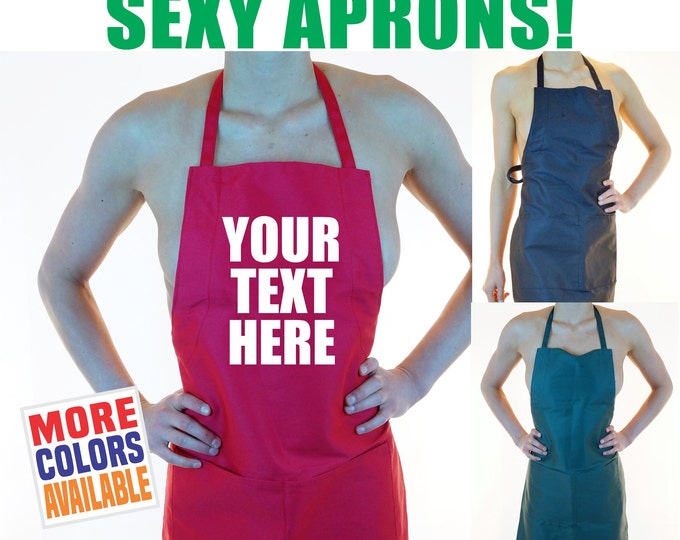 CUSTOM APRON Your Text Here Personalized Sexy Hot Kitchen Maid Tease Lingerie Party Wife Fiance Girlfriend Gift Bridal Shower BBQ Naughty