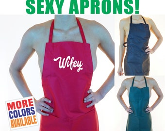 WIFEY APRON Sexy Hot Kitchen Maid Tease Lingerie Party Wife Fiance Girlfriend Gift Wedding Bridal Shower BBQ Naughty Kinky Costume Side Boob