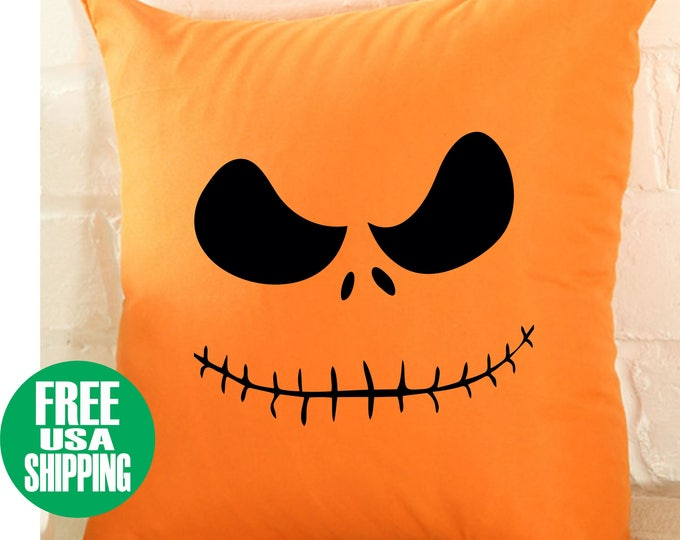 HALLOWEEN FACE Pillow Cover Throw Bed Couch Sofa Living Room Orange Black Pumpkin Jack O'Lantern Face Scary Cute Fun Decoration Fall Gift