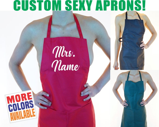 MRS. LAST NAME Apron Custom Text Personalized Sexy Hot Kitchen Maid Tease Lingerie Party Wife Fiance Gift Wedding Bridal Shower Bbq Womens