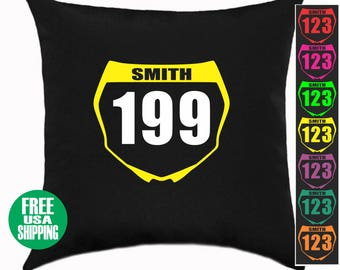 Custom NUMBER PLATE Pillow Black Cover Bed Couch Sofa Kid Room Baby Shower Birthday Gift Front Name Dirt Bike Mx Motocross Racing Racer Dad