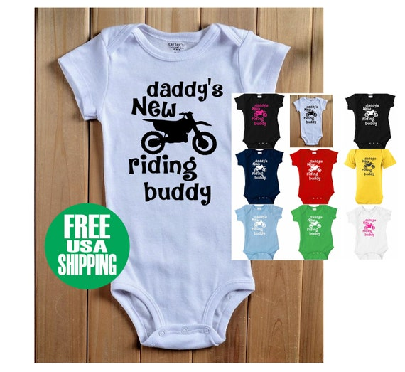 DADDY/'S RIDING BUDDY BABY T SHIRT INFANT DIRT BIKE NUMBER PLATE MOTOCROSS MOTO