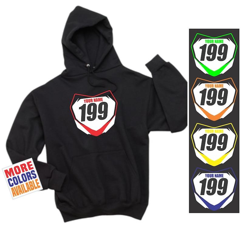 a62909036 MOTOCROSS NUMBER PLATE Hoodie Black Pullover Hooded Sweatshirt | Etsy