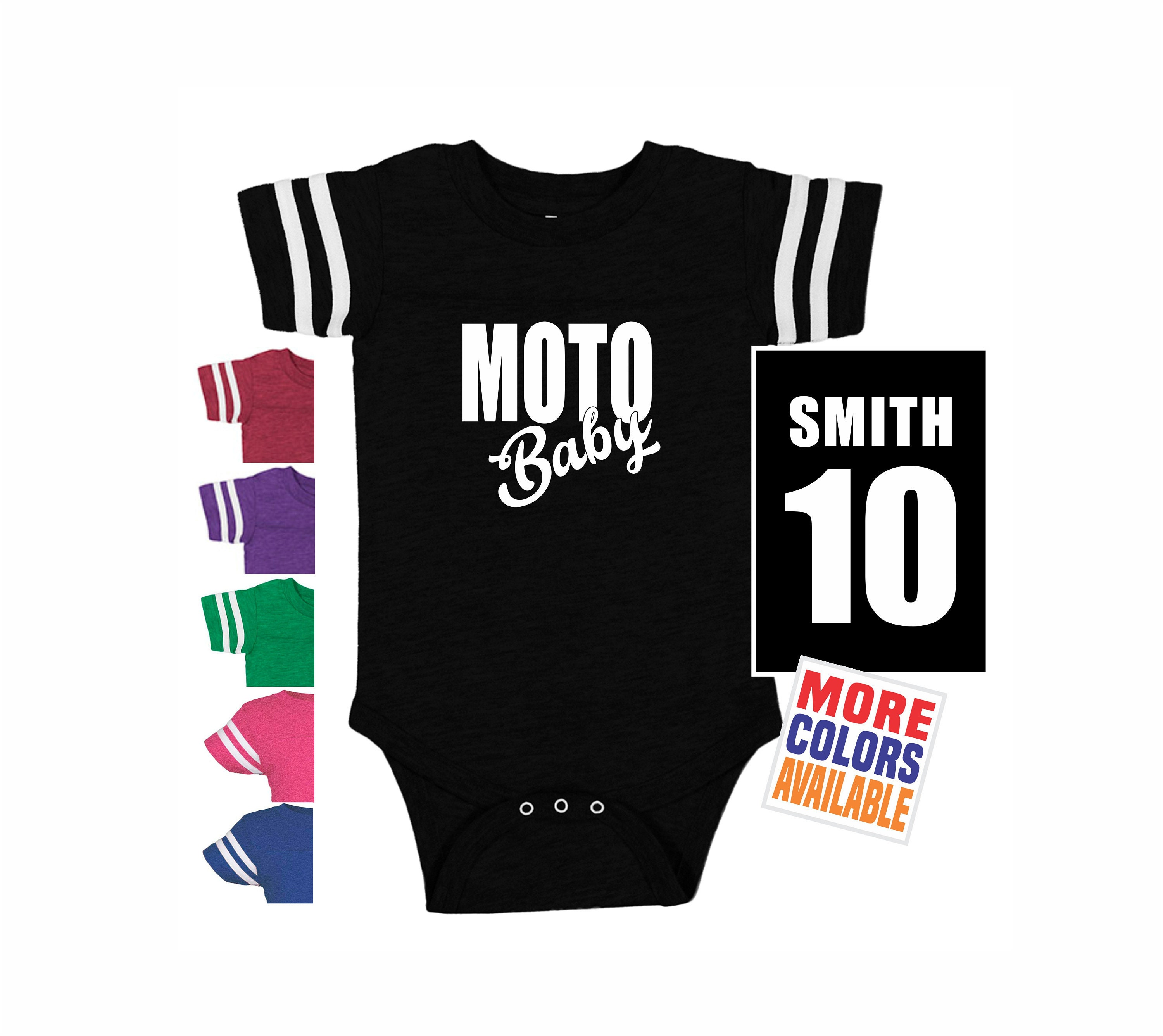 8eaa84649 MOTO BABY Bodysuit Shirt Stripe Sleeve Jersey Name Number