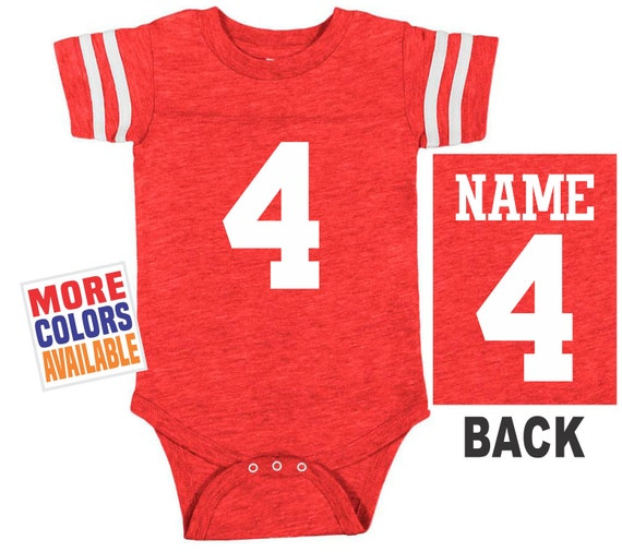 b2a894d19 FOOTBALL JERSEY Bodysuit Baby Vintage Red w  White Shirt