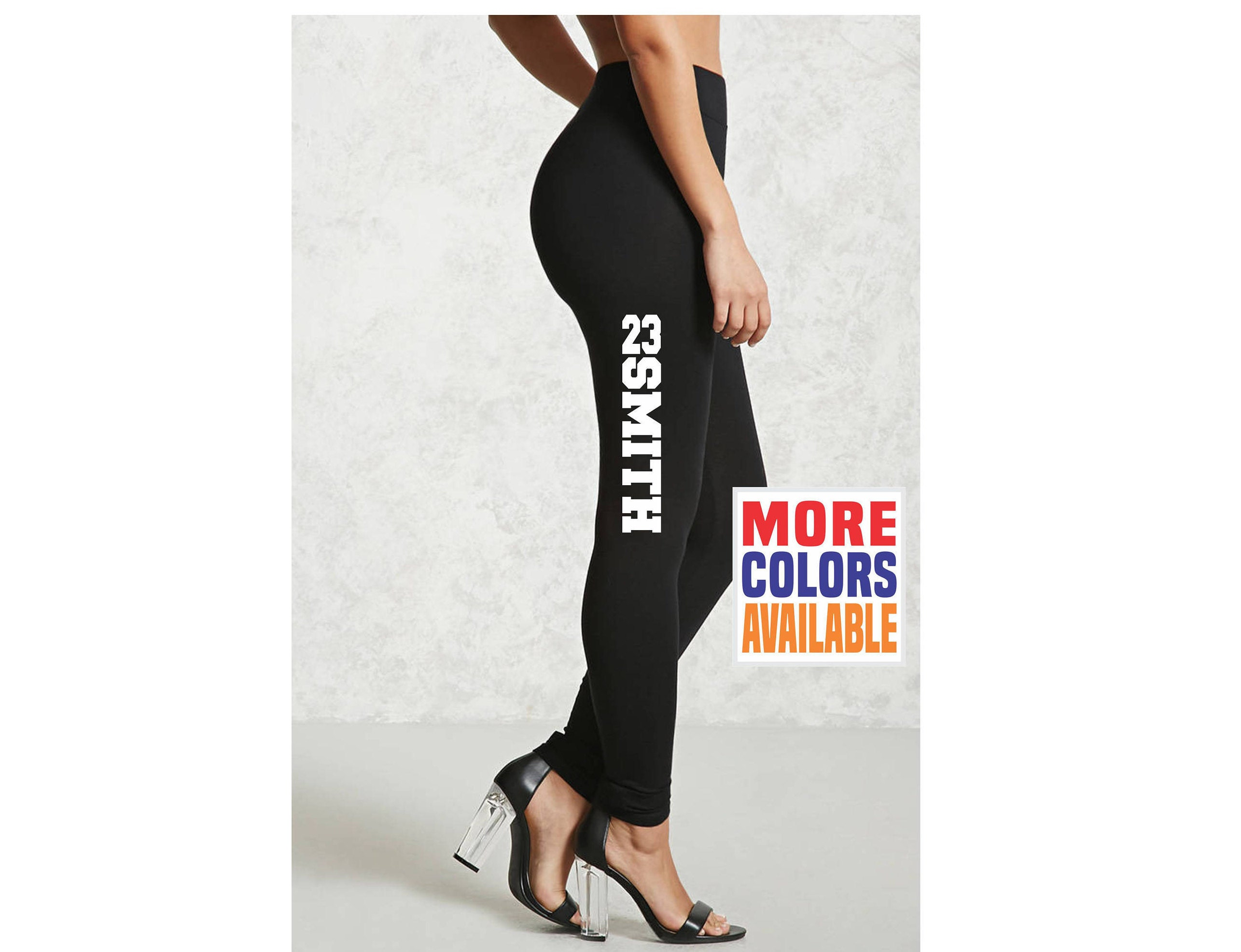 NAME NUMBER LEGGINGS Black Pants Workout Yoga Gym Side Leg Your Text