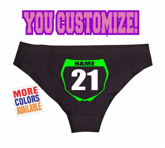 MOTOCROSS NUMBER PLATE Panties Underwear Bikini Hipster Booty Shorts Custom Personalized Front Name Dirt Bike Motorcycle Mx Fmx Flat Track