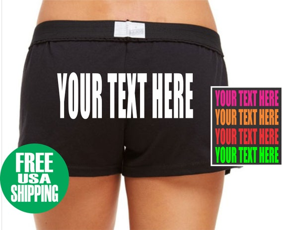 YOUR TEXT HERE Soffe Low Rise Black Hot Pink Shorts Gym Work Out Cheer Booty Sexy Hot Custom Personalized Customized Team Group Name Cotton