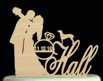 Bride and Groom Cake Topper,Wedding Cake Topper with Dogs,Personalized Mr and Mrs Cake Topper,Silhouette Cake TopperCats,Custom Cake Topper
