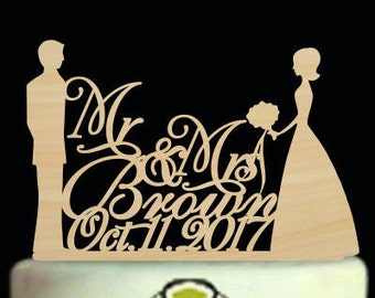 Bride and Groom Cake Topper, Wedding Cake Topper, Mr and Mrs Last Name Cake Topper,Silhouette Cake Topper,Mr and Mrs Cake Topper Wedding