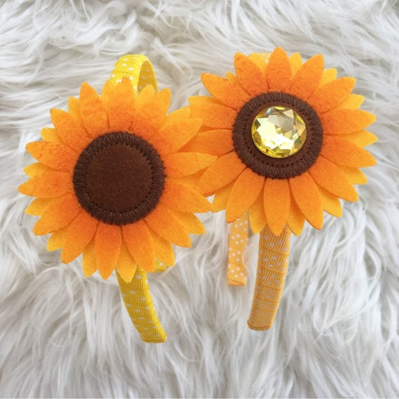 Sunflower headband flower beadband baby headband toddler  35516fffa80