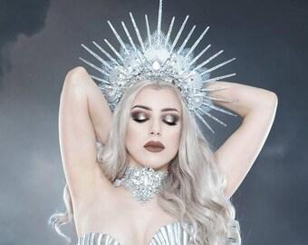 ARCTIC SIREN HALO - Mermaid Crown - Showgirl Headpiece - Unique Handmade Festival Wear - Burning Man Siren Accessory - Icequeen Headdress