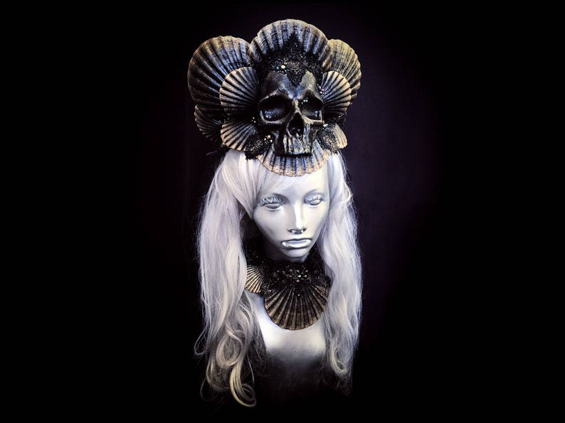 4def5ef3c2f0b SIREN OF DOOM Dark Mermaid Crown Opulent Skull Headpiece