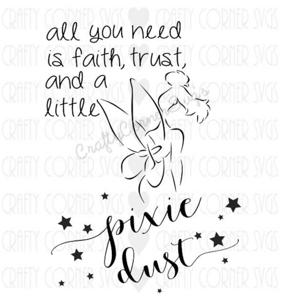Tinkerbell Quote Pixie Dust Faith Trust Peter Pan Disney Etsy