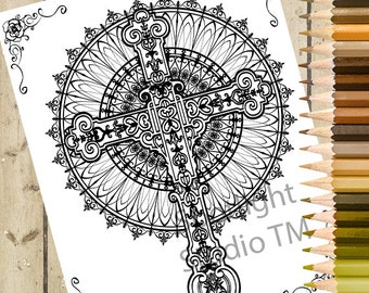 CROSS Adult Coloring Page – Printable Color Page Adult Coloring Book Page - Download and Color - Gothic Cross Adult Coloring Page DOWNLOAD