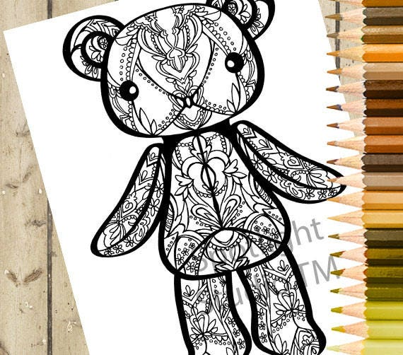 - TEDDY BEAR Adult Coloring Page Printable Coloring Page Etsy