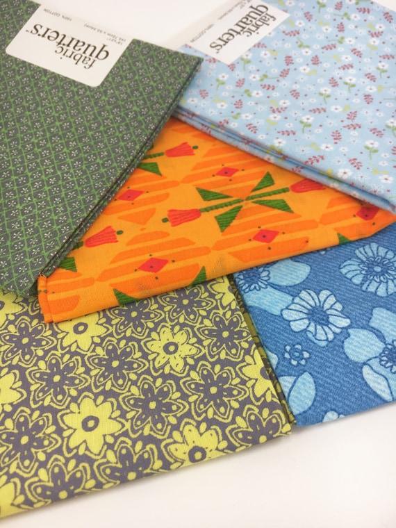 5 New Fat Quarter FQ Bundle 100/% Cotton Fabric Stripe Floral Green Yellow 011
