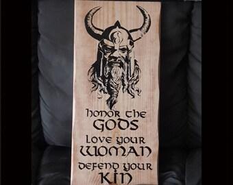 Viking Norse Wood Burned Art, Odin Viking God Norse Oath