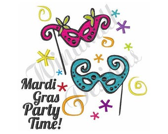 Mardi Gras Party Time - Machine Embroidery Design