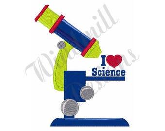 Microscope I Love Science  - Machine Embroidery Design