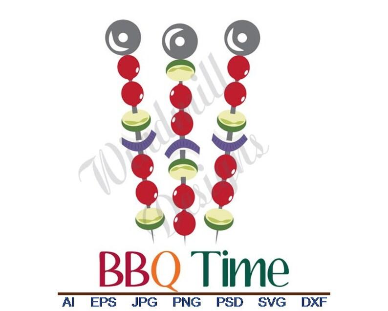 Svg Vector Art Eps Clipart Cut File Dxf Bbq Time Veggie Kabob Jpg Png
