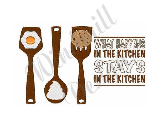 Kitchen Utensils Machine Embroidery Design Spatula Spoon Etsy