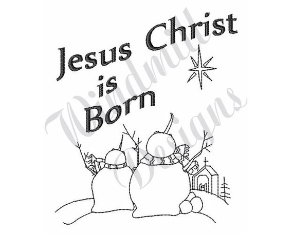 Christmas Jesus Birth Drawing.Jesus Christ Is Born Single Color Christmas Night Manger Scene Machine Embroidery Design