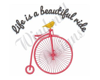 Penny Farthing Old Bicycle - Machine Embroidery Design