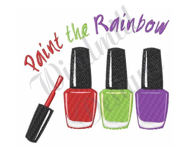 Nail Polish Paint The Rainbow - Machine Embroidery Design from ...