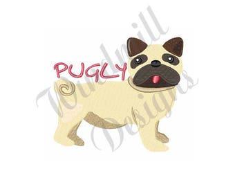 Pugly Pug Dog - Machine Embroidery Design
