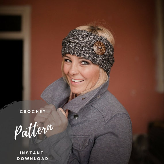 Chunky Crochet Button Headband Pattern 30 Minute Crochet Etsy